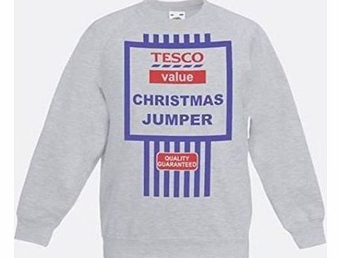 Grey Tescos Value Christmas Jumpers Sweatshirt Funny Gift Idea [large]